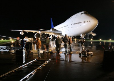 Boeing 747 exterior at night