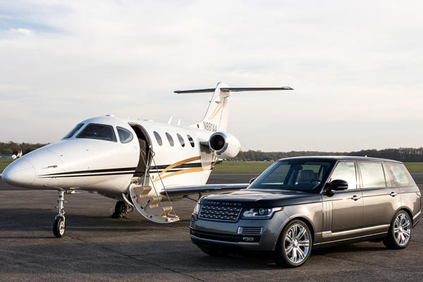 Private Jet with Land Rover
