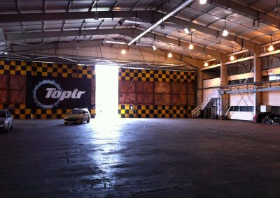 Aircraft hangars studio space filming Top Gear