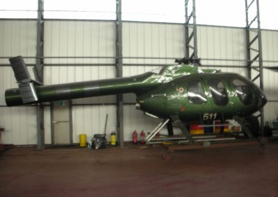Helicopter in Hangar used for filming
