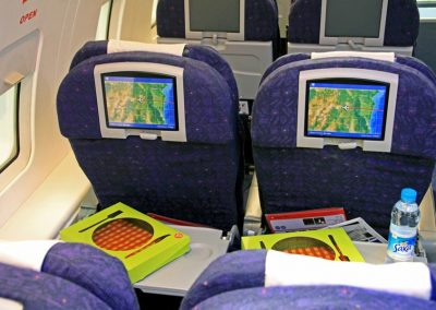 commercial airliner front seats screens
