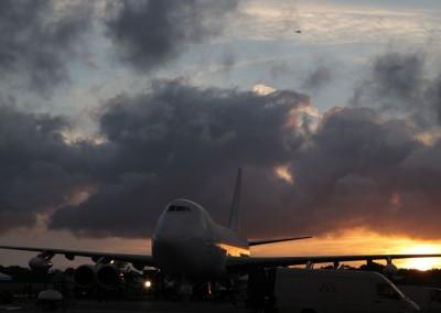 Boeing 747 sunset