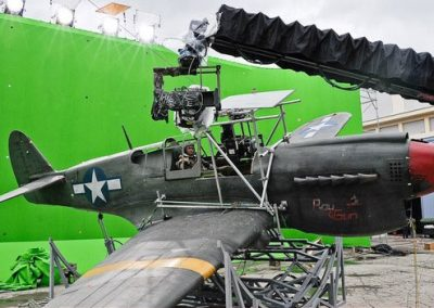 WW2 P-40 aircraft as used in Red Tails film in front of green screen