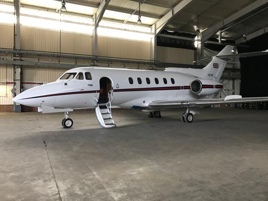 Private Jet inside hangar