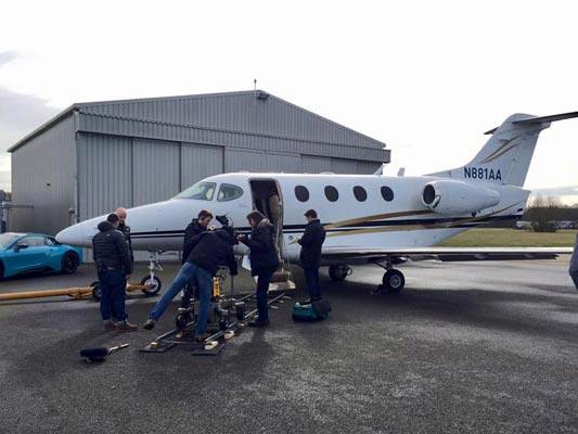 Private Jet outside hangar