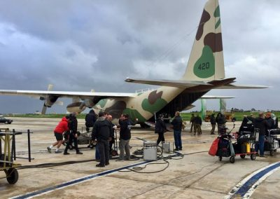 C130 military aircraft exterior with film crew