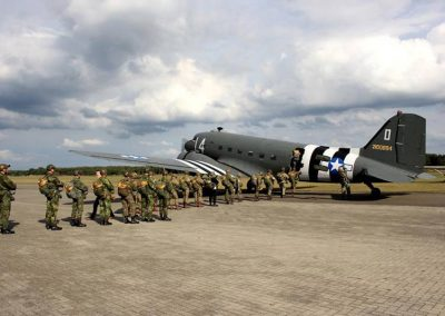 Lining up to board DC3 for parachute jump
