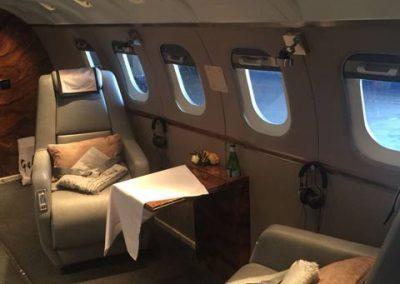 New private jet interior wth two seats